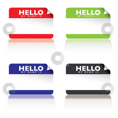Hello my name is stock vector clipart, Colourful paper tags with hello my name is by Michael Travers