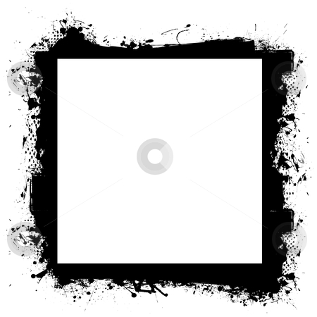 Black in border grunge effect stock vector clipart, Abstract black grunge border frame with room to add your own photograph by Michael Travers