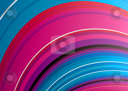 Blue wave background stock photo, Wave rainbow background with stripes in red and blue by Michael Travers