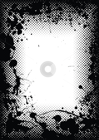 Halftone grunge ink splat border stock vector clipart, Halftone dot black border or frame with grunge ink splats by Michael Travers