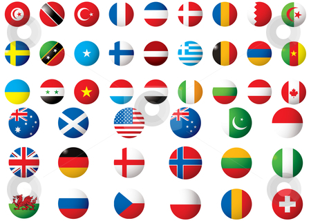 Flags of the world stock vector clipart, Circular flags of the world on a white background by Michael Travers