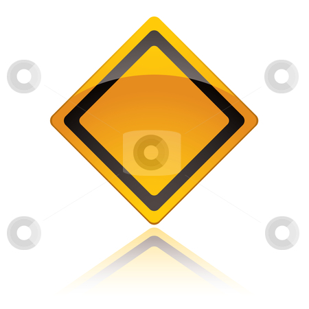 Warning sign icons stock vector clipart, Yellow american warning sign icon with reflection in white background by Michael Travers