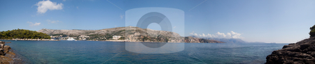 Ocean panoramic view stock photo, A panoramic view of the hill side in Dubrovnik, Croatia by Kevin Tietz