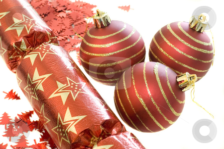 Red decorations stock photo, An arrangement of red christmas decorations by Stephen Gibson