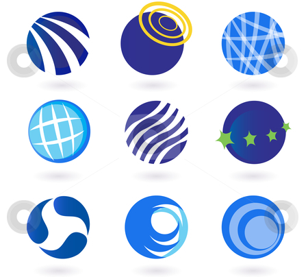 Abstract globes, spheres, circles earth vector icons - blue stock vector clipart, Set of vector modern abstract design elements with globes, spheres, circles and earth symbols. Collection of vector icons - perfect for corporate design, magazines and travel brochures. by Jana Guothova