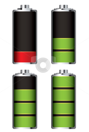 Battery charge full and empty stock vector clipart, Illustrated battery charge showing it fill and empty in icon form by Michael Travers