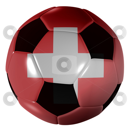 Football suisse flag stock photo, Traditional black and white soccer ball or football suisse flag by Michael Travers