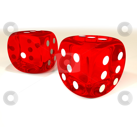 Dice pair stock photo, Pair of red dice with white spots and transparent effect by Michael Travers