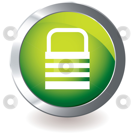 Green icon lock stock vector clipart, Green modern icon with silver metal bevel and internet lock design by Michael Travers