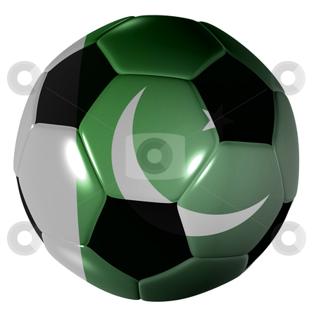 Football pakistan flag stock photo, Traditional black and white soccer ball or football pakistan flag by Michael Travers