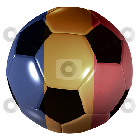 Football romanian flag stock photo, Traditional black and white soccer ball or football romanian flag by Michael Travers