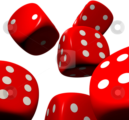 Red dice falling stock photo, Looking up a casino red dice falling down by Michael Travers