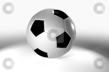 Football white background stock photo, Black and white traditional football with shadow and patches by Michael Travers