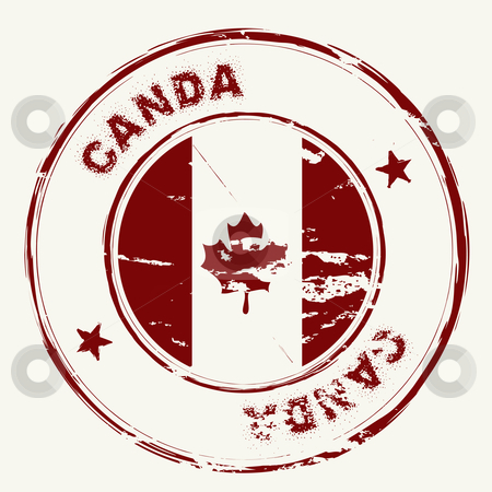 Canda ink stamp stock vector clipart, Old fashioned grunge rubber stamp from canada with maple leaf by Michael Travers
