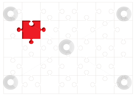 Jigsaw outline concept stock vector clipart, Jigsaw puzzle background concept with red missing piece by Michael Travers