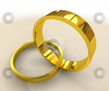 Golden wedding rings stock photo, Two golden wedding bands linked together as in marriage by Michael Travers