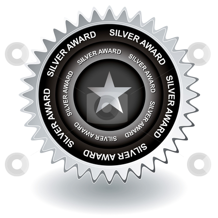 Silver award icon stock vector clipart, Second place silver award for web site or to promote business by Michael Travers