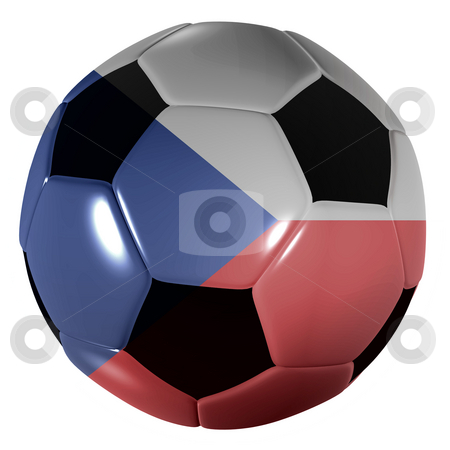 Football czech republic stock photo, Traditional black and white soccer ball or football czech republic by Michael Travers