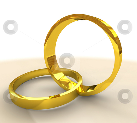 Two gold wedding rings stock photo, Pair of golden wedding bands or rings linked together representing marriage by Michael Travers