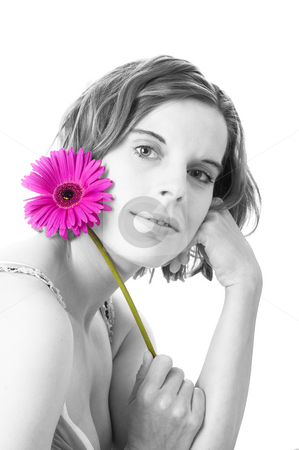 Young woman with flower, color key stock photo, Young woman with pink flower (gerbera), isolated, white background, space for text by Kai Schirmer