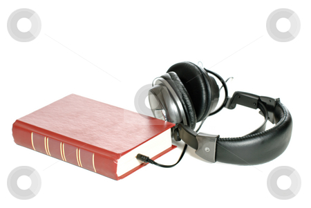 Audiobook stock photo, Concept image of an audiobook, isolated against a white background. by Richard Nelson