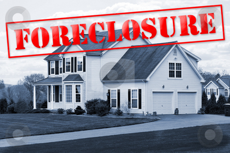Foreclosure House stock photo, A foreclosed house with a red foreclosure stamp running along the top of the picture. by Todd Arena