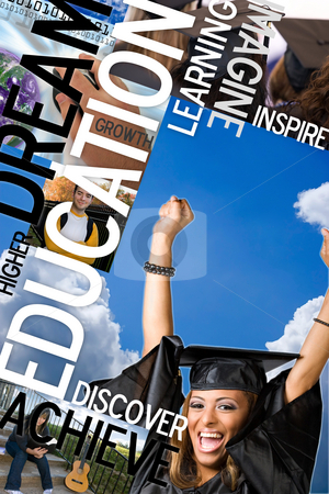 Education Montage stock photo, An education montage or layout with photos and text of students and graduates.  Plenty of copyspace for your text or logo. by Todd Arena