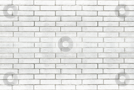 White brick wall background stock photo, White brick wall texture for background use by Artush