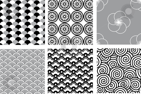 Seamless japanese pattern stock vector clipart, Seamless japanese pattern, vector by Beata Kraus