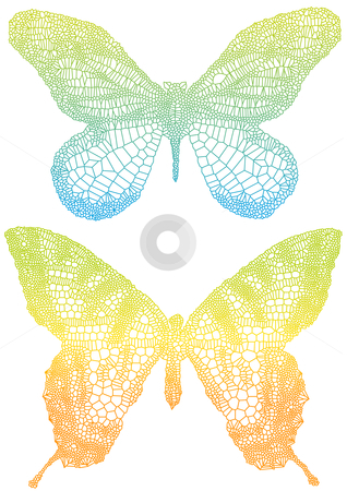 Colorful butterflies stock vector clipart, Beautiful vector butterflies with delicate texture by Beata Kraus