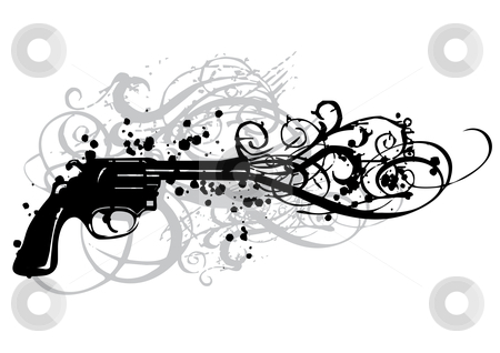 Vintage gun  stock vector clipart, Vintage gun with grungy swirls, vector by Beata Kraus
