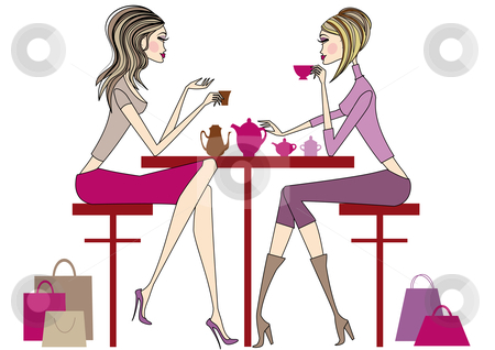 Drinking coffee stock vector clipart, Woman sitting in coffee bar, vector by Beata Kraus