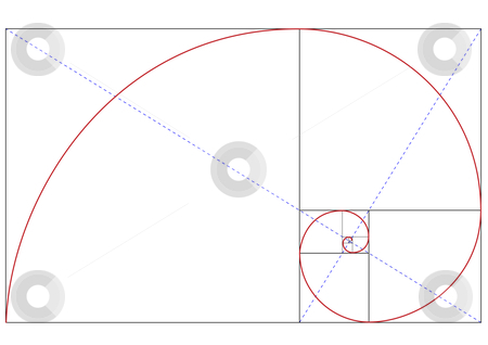 Golden ratio stock vector clipart, Fibonacci golden ratio for design harmony, vector by Beata Kraus