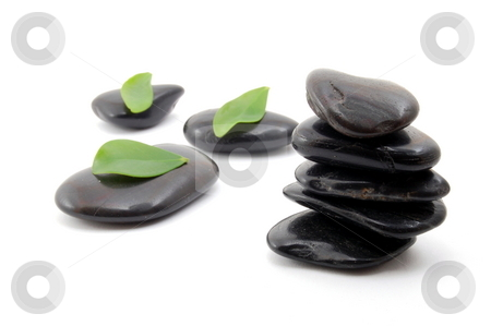 Stones in balance stock photo, Black stones in balance isolated on white background by Gunnar Pippel