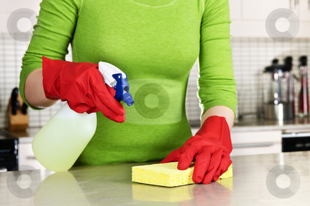 Girl cleaning kitchen stock photo, Girl cleaning kitchen  with sponge and rubber gloves by Elena Elisseeva