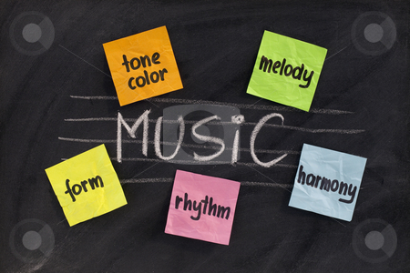 Traditional aspects (elements) of music stock photo, Traditional musicological or European-influenced  aspects of classical music (harmony, melody, form, rhythm and tone color) - white chalk handwriting and sticky notes on blackboard by Marek Uliasz