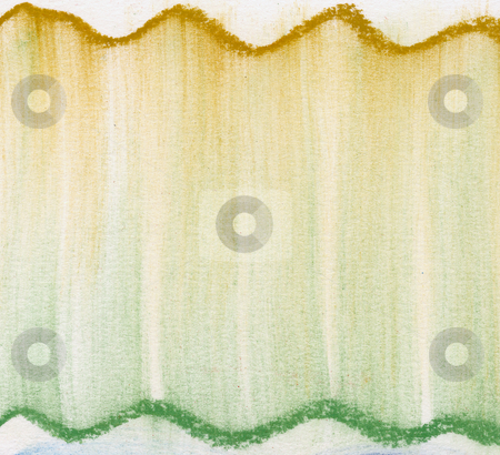 Green and gold  pastel abstract stock photo, Green and gold abstract background - wavy lines and vertical smudges of soft pastel crayons on white paper by Marek Uliasz