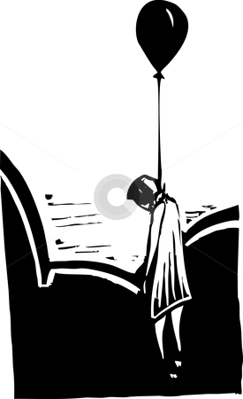 Hung Balloon stock vector clipart, Black balloon with body garroted beneath it. heroin metaphor. by Jeffrey Thompson