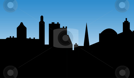 Urban city skyline stock photo, Urban city skyline with cathedral or church, silhouetted with blue sky background. by Martin Crowdy