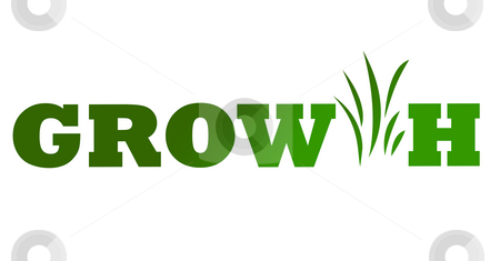Green business growth icon stock photo, Conceptual illustration of green business growth icon isolated on white background. by Martin Crowdy