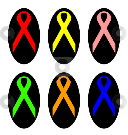 Set of colorful awareness ribbons stock photo, Set of colorful awareness ribbons in black oval shapes, isolated on white background. by Martin Crowdy