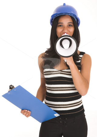 African Businesswoman stock photo, Young adult African-Indian businesswoman in casual office outfit with a megaphone, hard hat and clipboard on a white background. Not Isolated by Sean Nel