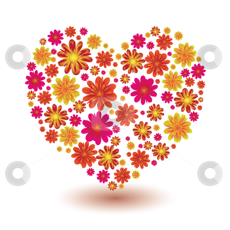 Floral heart shape stock vector clipart, Illustrated floral heart shape ideal love icon or symbol by Michael Travers