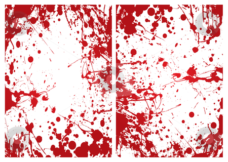 Blood splat frame stock vector clipart, Red grunge ink splat blood border or frame background by Michael Travers