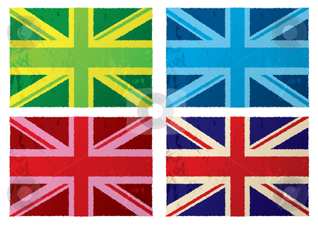 British grunge flags stock vector clipart, Collection of abstract british grunge flags with color variation by Michael Travers