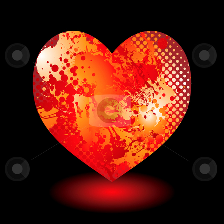 Splat grunge heart stock vector clipart, Abstract love heart valentines day concept with ink splat pattern by Michael Travers