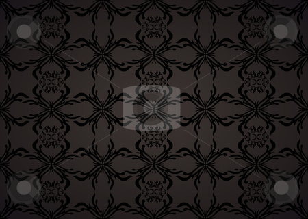 Wallpaper background gothic stock vector clipart, Gothic seamless background wallpaper in balck and grey with floral theme by Michael Travers