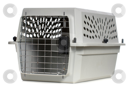 Animal Carrier stock photo, A grey cat carrier with the door closed, isolated against a white background. by Richard Nelson