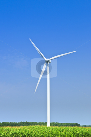 Wind turbine in field stock photo, Green alternative clean power wind turbine in field by Elena Elisseeva