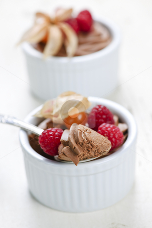 Chocolate mousse dessert stock photo, Two chocolate mousse desserts with a spoon by Elena Elisseeva